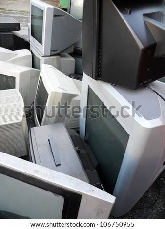 Computer parts and monitors landfill for electronic recycling