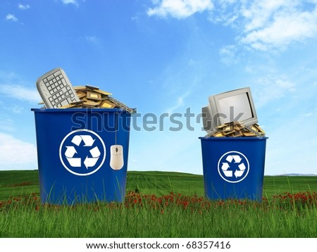 Computer parts trash in recycle bin