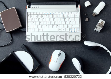 Computer peripherals & laptop accessories. Composition on stone counter #538320733