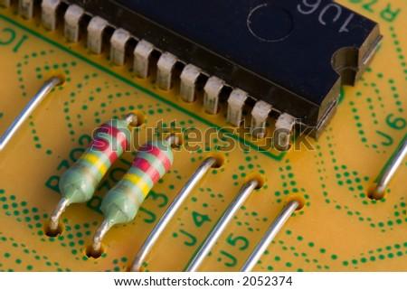 Computer processor and circuit board - stock photo