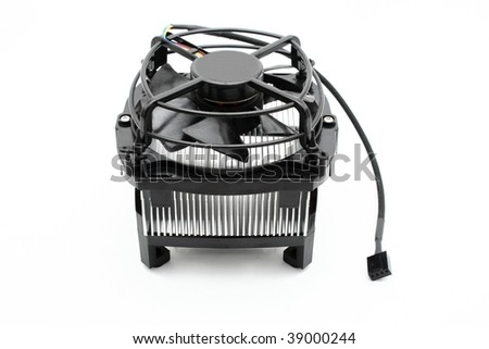 Computer processor cooler isolated on white background - stock photo