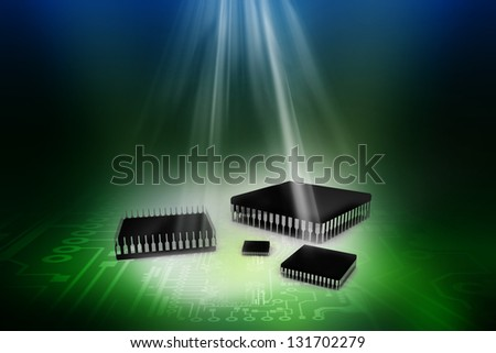 Computer processor over abstract digital background