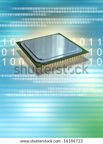 Computer processor over binary data streams. Digital illustration