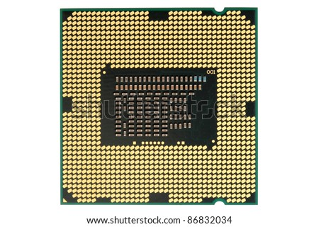 Computer processor type from the bottom. Isolated on white background