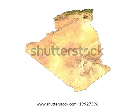 Computer Render Of Algeria On White Background