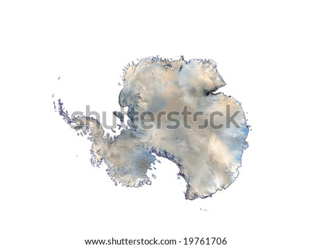 Computer Render Of Antarctica On White Background