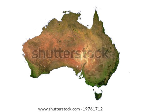 Computer Render Of Australia On White Background