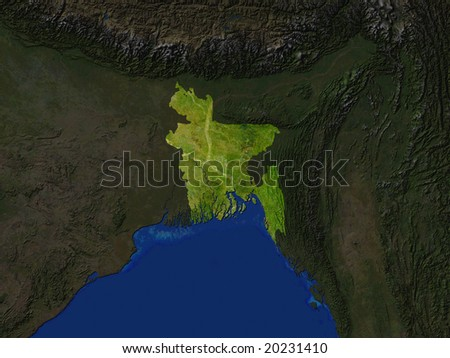 Computer Render Of Bangladesh Highlighted