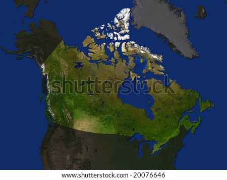 Computer Render Of Canada Highlighted