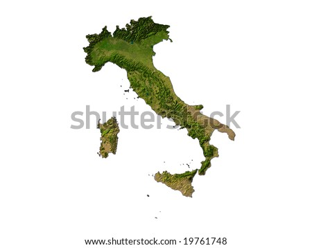 Computer Render Of Italy On White Background