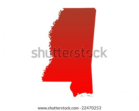Computer Render Of The State Mississippi, USA