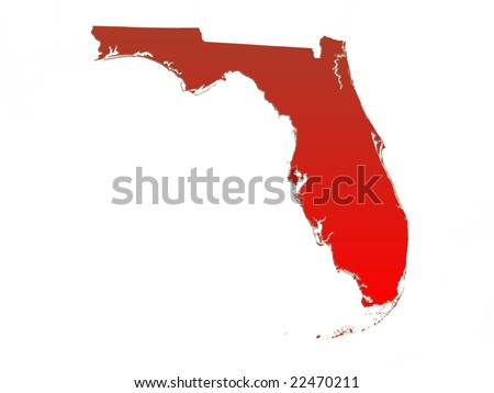 Computer Render Of The State Of Florida, USA