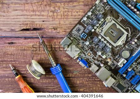 Computer repair concept. Close-up view.Hardware Computer.