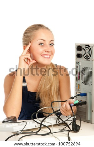 Computer Repair Engineer, blonde girl