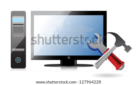 Computer repair tools illustration design over a white background