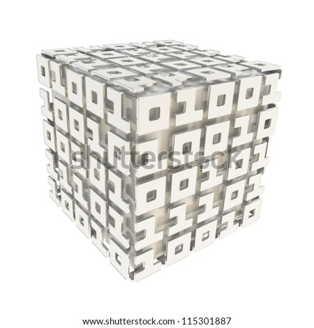 Computer science and cybernetics: dimensional cube made of ones and zeros isolated on white
