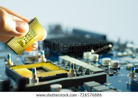 computer science engineer, computer pc motherboard repair  Foto stock ©