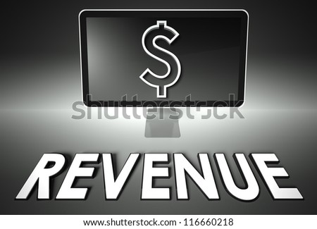 Computer screen and dollar sign with word Revenue, E-commerce concept