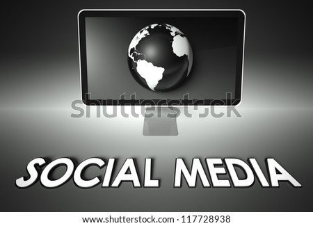 Computer screen and globe with word Social media, Network concept