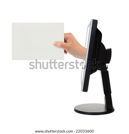 Computer screen and hand with card isolated on white background