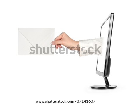 Computer screen and hand with letter isolated on white background