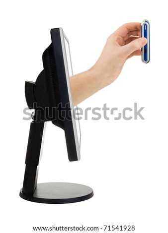 Computer screen and hand with phone  on white background