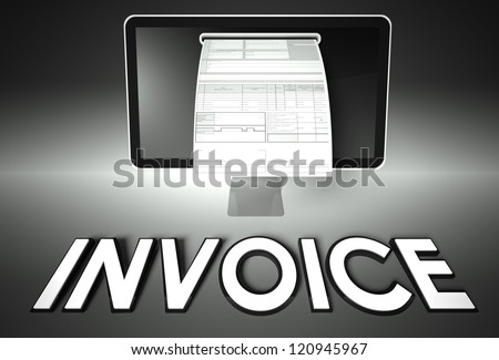 Computer screen and invoice with word Invoice, Tax concept