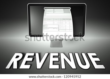 Computer screen and invoice with word Revenue, Tax concept