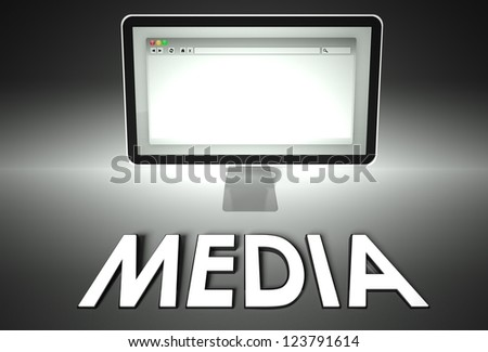 Computer screen and web browser with word Media, Information concept