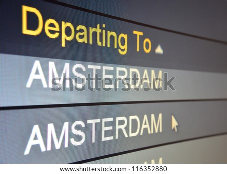 Computer screen closeup of Amsterdam flight status