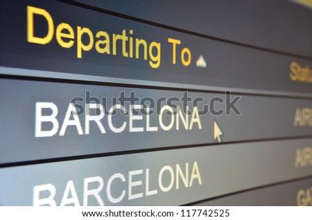Computer screen closeup of Barcelona flight status
