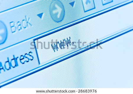 computer screen macro with internet www - stock photo