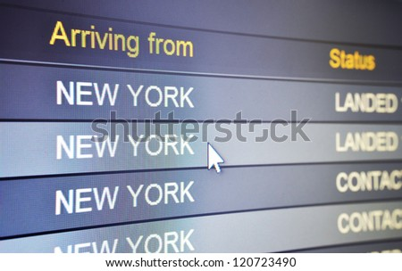 Computer screen showing status of flight from New York