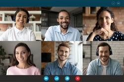 Computer screen web camera view happy multiracial millennial friends or colleagues communicating distantly, chatting in group conference video call from home or enjoying online training seminar.