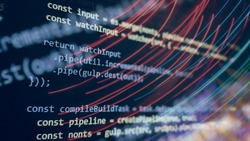 Computer script. Software background. Source code photo. Website programming code. Programmer developer screen. Developer working on program codes in office.