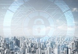 Computer security concept and information technology. Risk management and professional safeguarding. Virtual padlock hologram on background of city skyline. Innovative security solution for business.