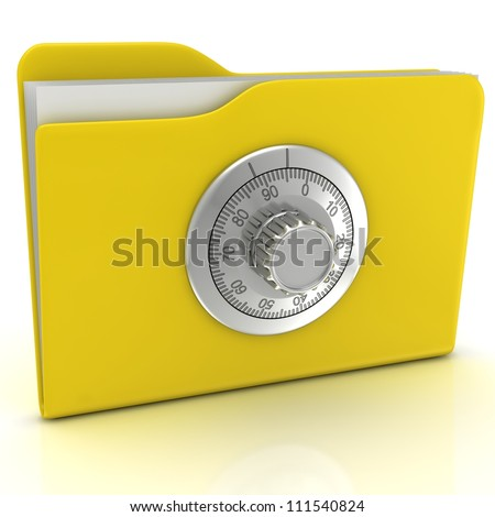 Computer security concept. Computer folder with combination lock.