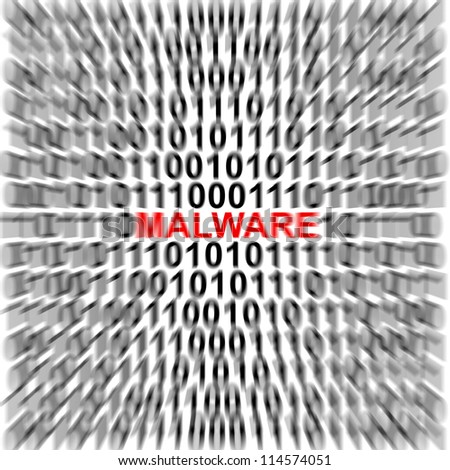 Computer Security Concept Present by Binary Code Around The Red Malware Text