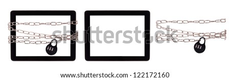 computer security concept set with clipping path isolated