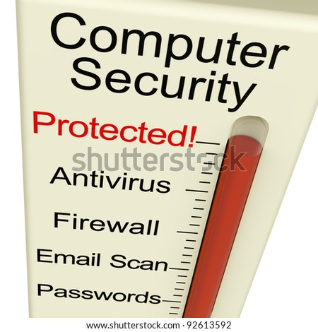Computer Security Protected Monitor Shows Laptop Interet Safety