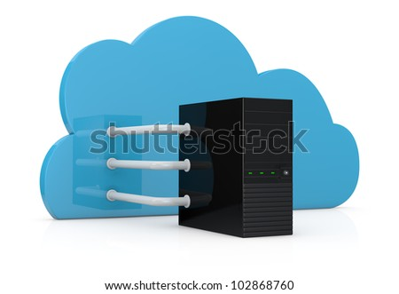 computer server connected to a cloud with three big pipes; concept of cloud computing (3d render)