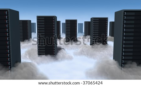 Computer servers staggered in the clouds with glowing light below.