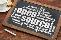 computer software development concept - open source word cloud  on a vintage blackboard