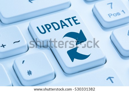 Computer software update network security virus symbol blue keyboard
