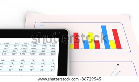 computer, spreadsheet and charts to show the concept of modern tools for financial and market analysis (3d render)