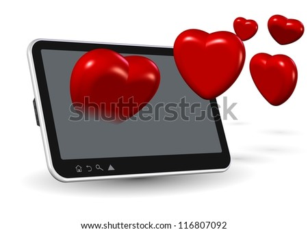 Computer tablet and number of red hearts coming out from it / Online love