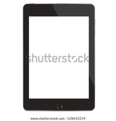Computer tablet (3D rendering with blank screen)