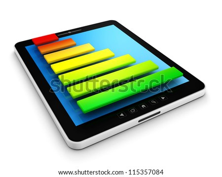 Computer tablet pc with colorful success bar graph