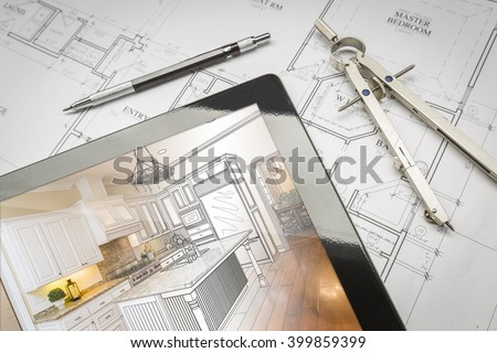 Computer Tablet Showing Kitchen Illustration Sitting On House Plans With Pencil and Compass. #399859399