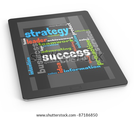 Computer tablet strategy success concept